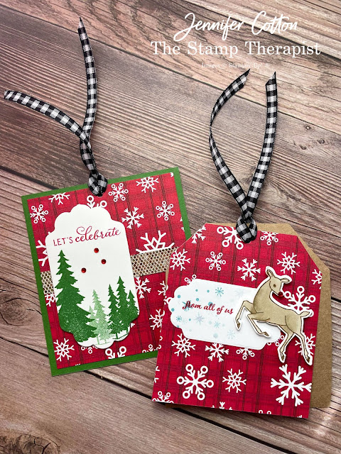 Handmade Christmas gift tags using Stampin' Up! Peaceful Deer and Peaceful Prints Sale a Bration Designer Series Paper (DSP).  Also uses Be Dazzling SAB DSP.  Dies are Seasonal Labels Dies and ribbon is Black & White Gingham.  Video, measurements, and supply list on blog.  #StampinUp #StampTherapist #PeacefulDeer #PeacefulPrints