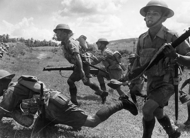 WW2 Malayan soldiers ferocious charge to defend peninsula -Malay battle zone-February 10- 1942