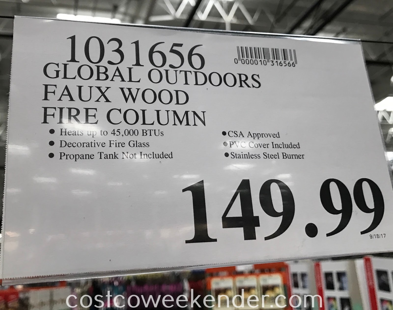 Deal for the Global Outdoors Gas Fire Column at Costco