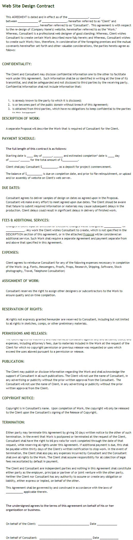 Website designer job contract template
