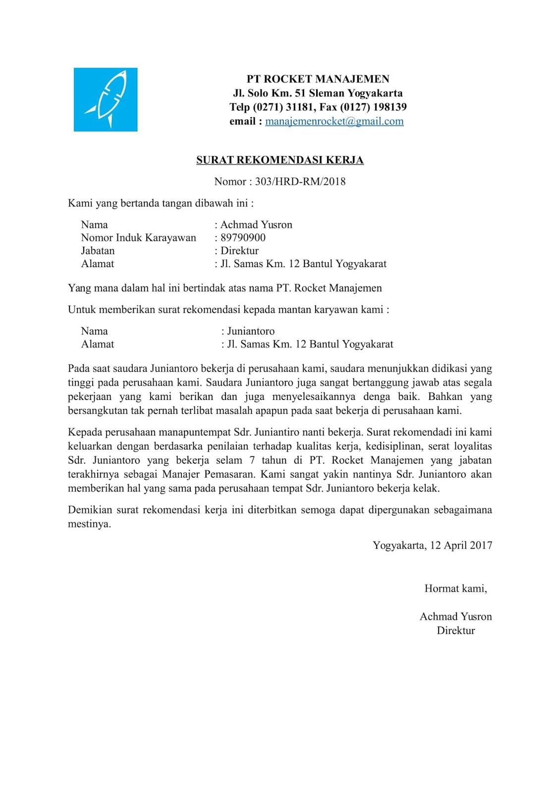 Contoh Surat Rekomendasi Kerja 2020 Format Doc Pdf