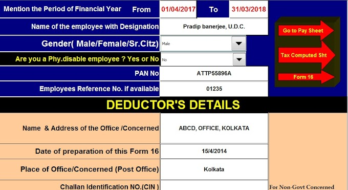 Automated All in One TDS on Salary for Govt & Non-Govt Employees for F.Y.2017-18 With Section 80DD – Deduction on medical expenses of disabled