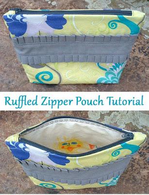 Ruffled Zipper Pouch Bag Tutorial