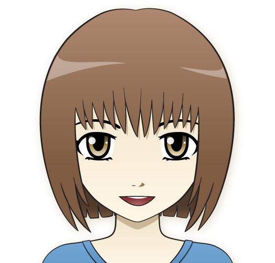 Gadis digambar dengan gaya anime