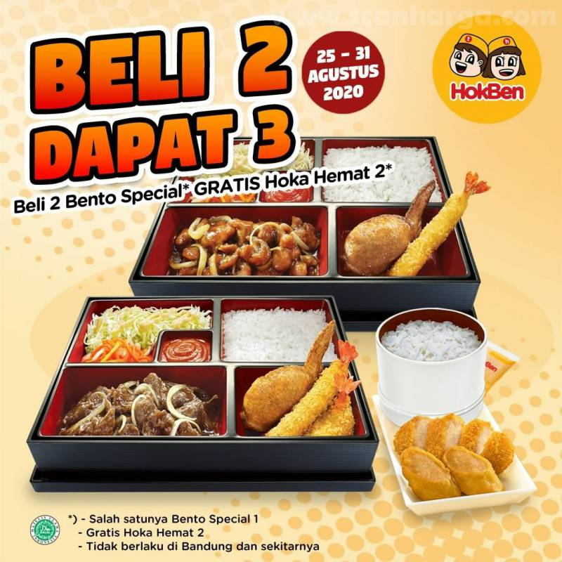 Promo Hokben Payday Beli 2 Dapat 3 [Beli 2 Bento Special Gratis Hoka Hemat 2]