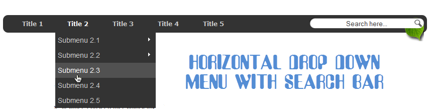 Create horizontal navigation menu with drop down submenus for Html side menu bar template