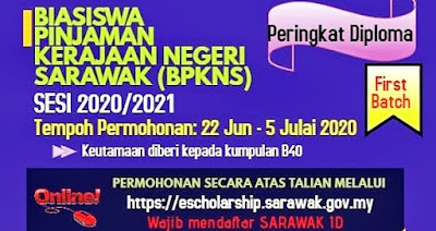 Permohonan Biasiswa Pinjaman Kerajaan Negeri Sarawak (BPKNS) 2020 Online