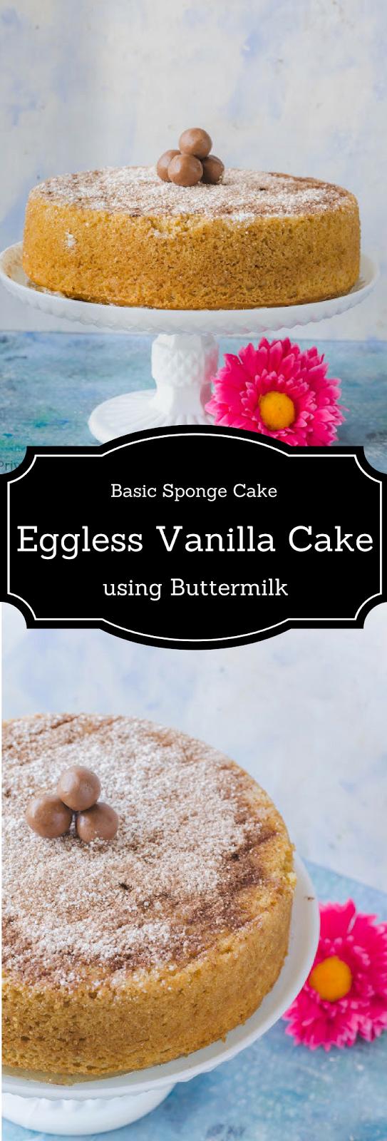 Eggless Vanilla Cake Recipe Using Buttermilk