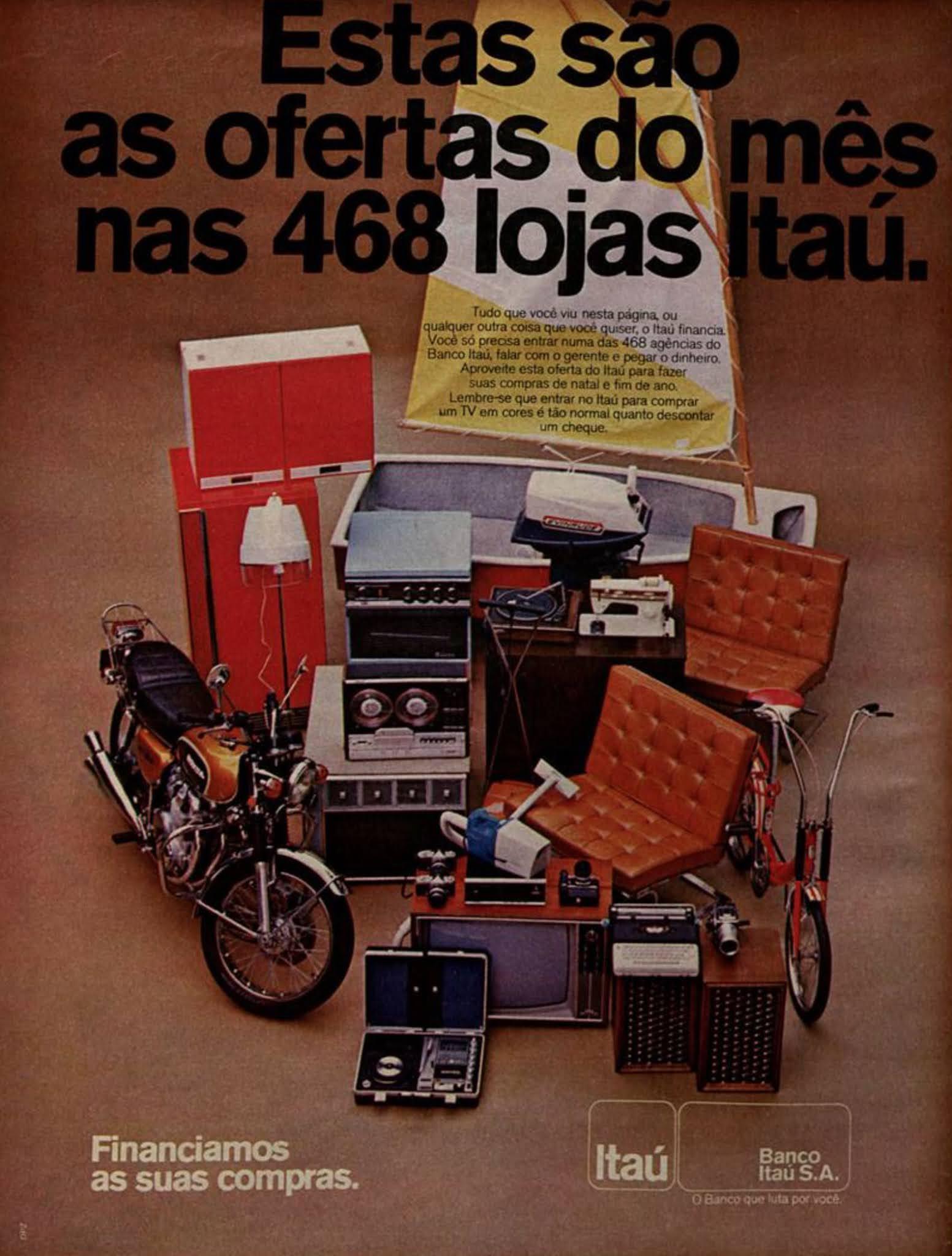 Propaganda antiga do Banco Itaú promovendo sua linha de financiamento em 1973