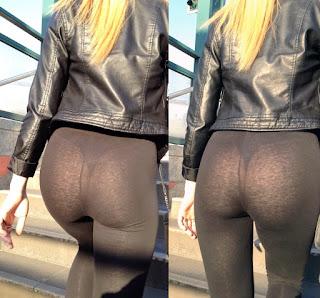 Linda rubia usando calzas transparentes