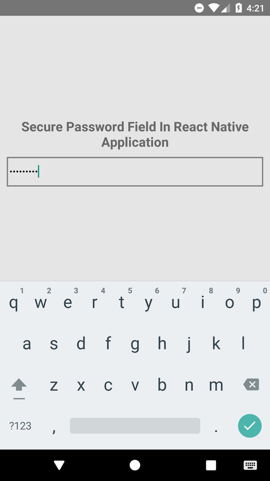 React Native Set TextInput Type Style Password Example