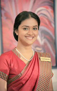 Mana Keerthy Suresh: Keerthy Suresh in Maroon Color Saree with Cute and Awesome Smile