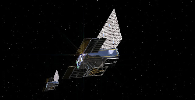 An artist's rendering of the twin Mars Cube One (MarCO) spacecraft as they fly through deep space. Image credit: NASA/JPL-Caltech