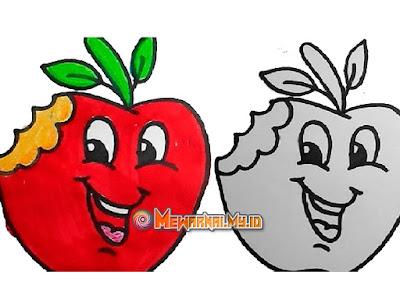 cara mewarnai gambar buah apel