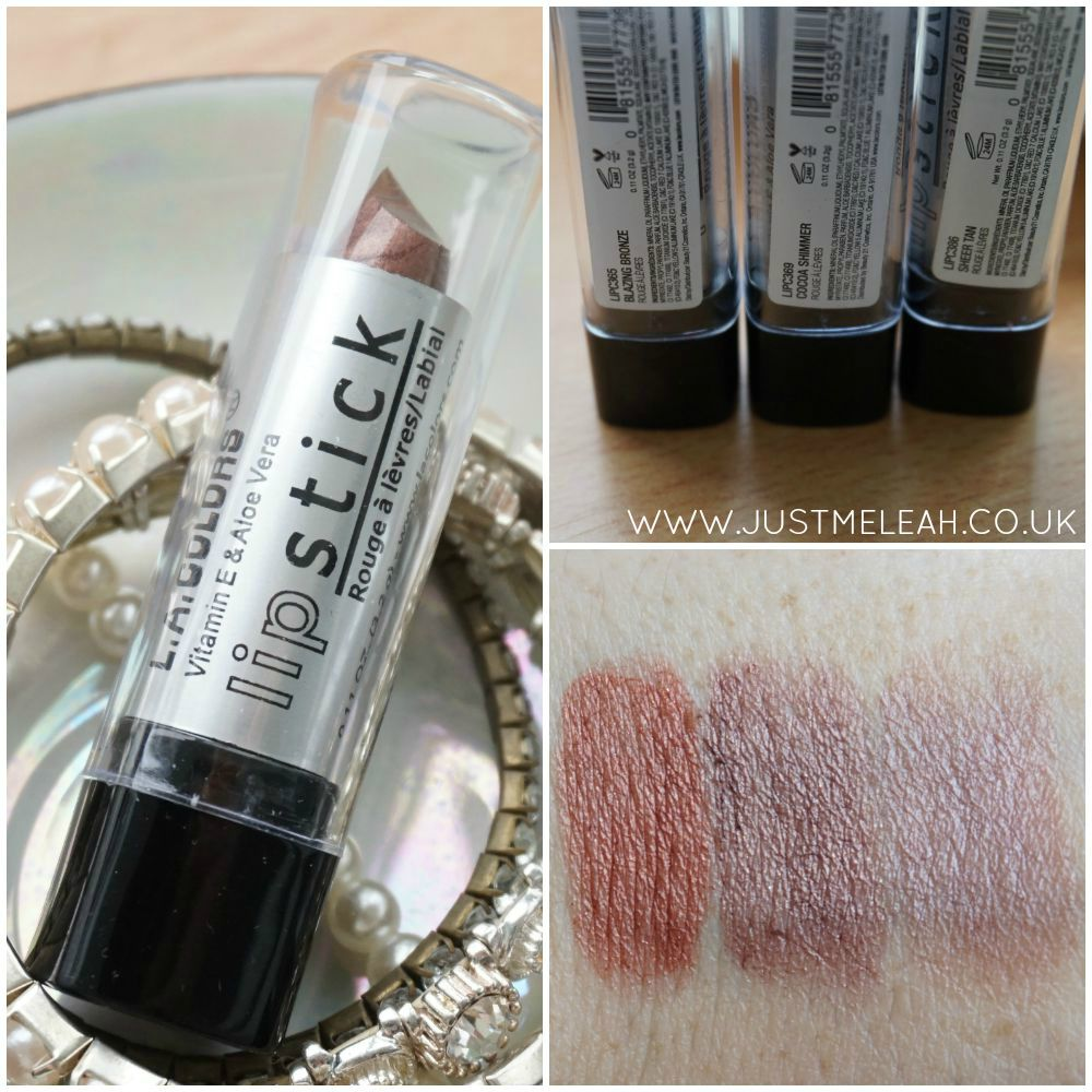 LA COLORS LIPSTICKS IN SHADES OF BROWN