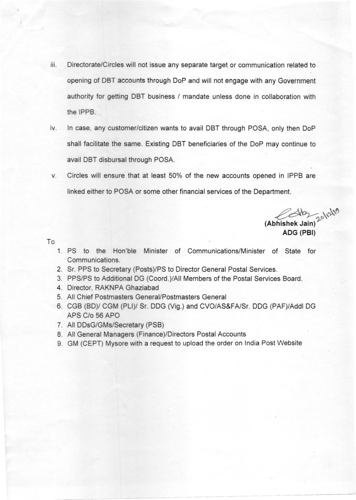 Revised DBT Policy for DOP