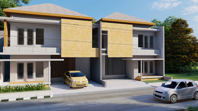 Desain Rumah 2 Lantai Model Atap Limas, Bontang