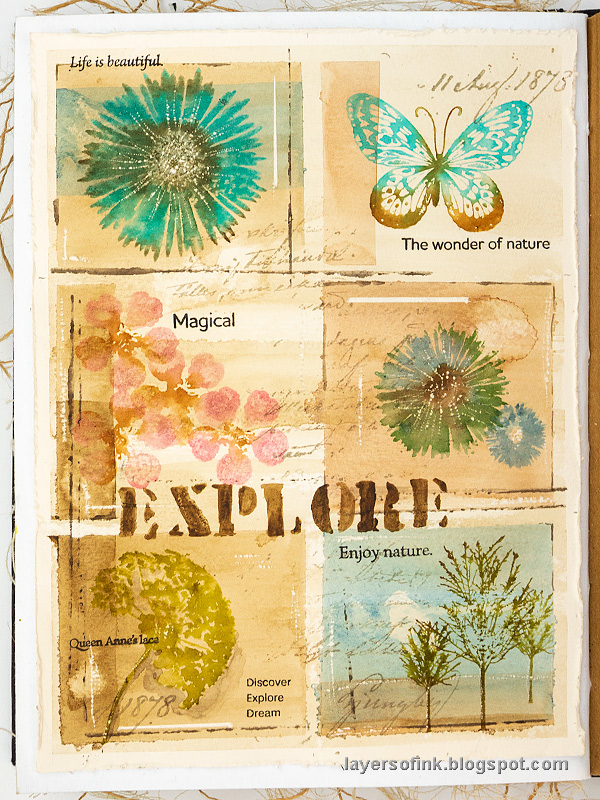 Layers of ink - Nature Sampler Art Journal Page Tutorial by Anna-Karin Evaldsson.