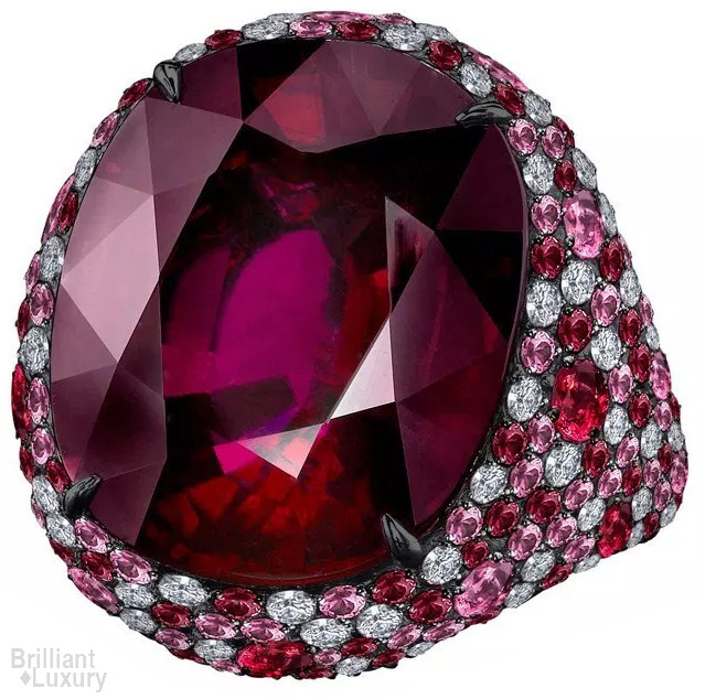 Brilliant Luxury♦Robert Procop ring 31.74-ct rubellite surrounded by a melange of pavé diamonds, pink sapphires and rubies