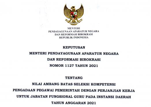 Keputusan Menpan RB atau KepmenpanRB Nomor 1127 Tahun 2021