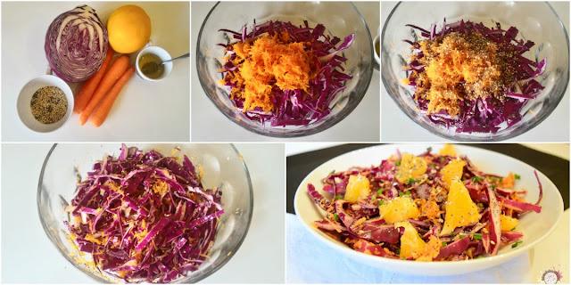 Preparación ensalada de col lombarda y naranja