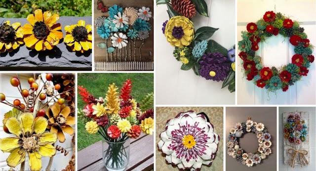 Πως θα φτιάξετε διακοσμητικά Λουλούδια από Κουκουνάρια