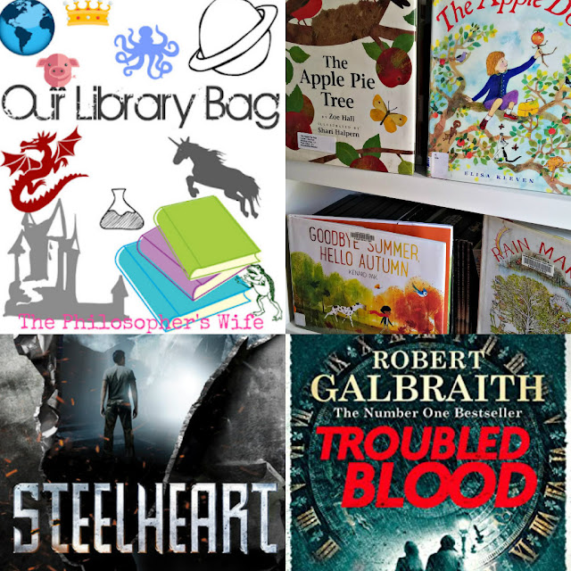 Our Library Bag Collage: With Fall Picture Books, Steelheart, and Troubled Blood