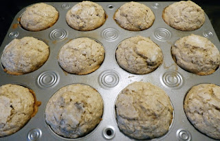 oatmeal craisin muffins out of the oven
