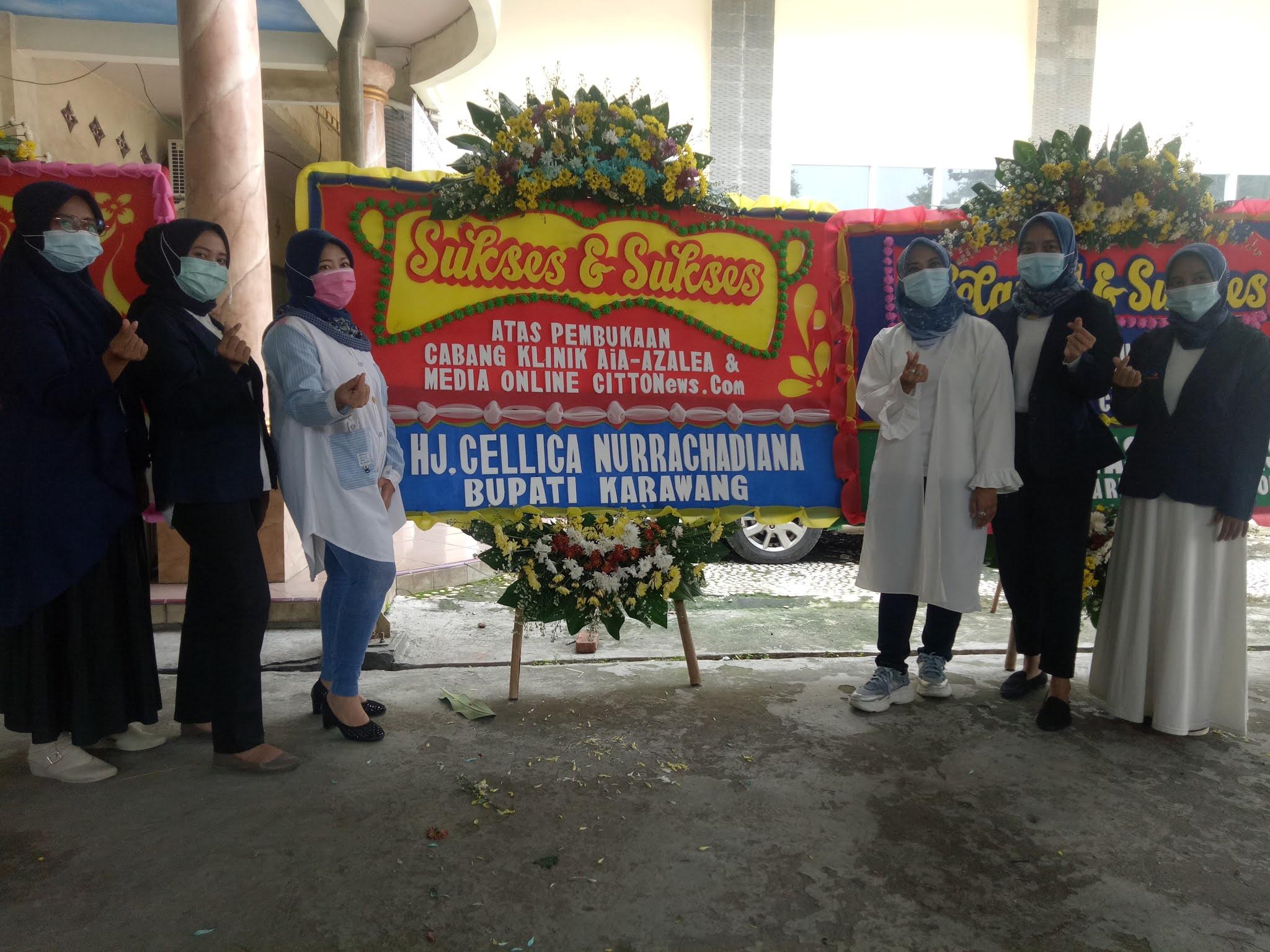 Ucapan Selamat Dan Karangan Bunga Datang Dari Bupati Karawang Dalam Peresmian Klinik Dan Media Online