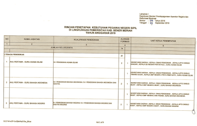 Formasi Penerimaan CPNS Kabupaten Bener Meriah Tahun 2019