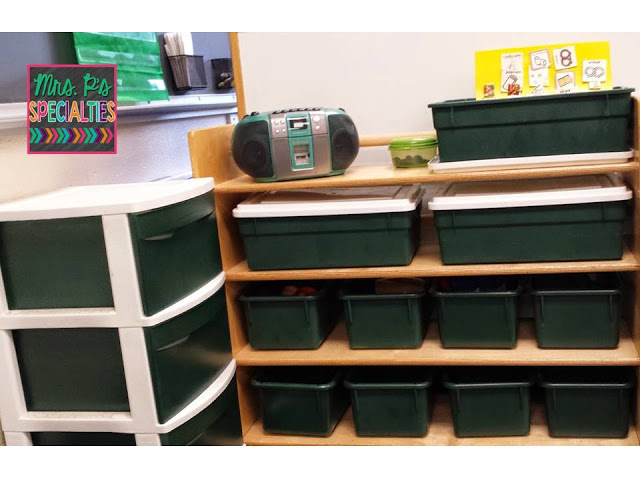 Camouflage materials by spray painting clear storage containers.