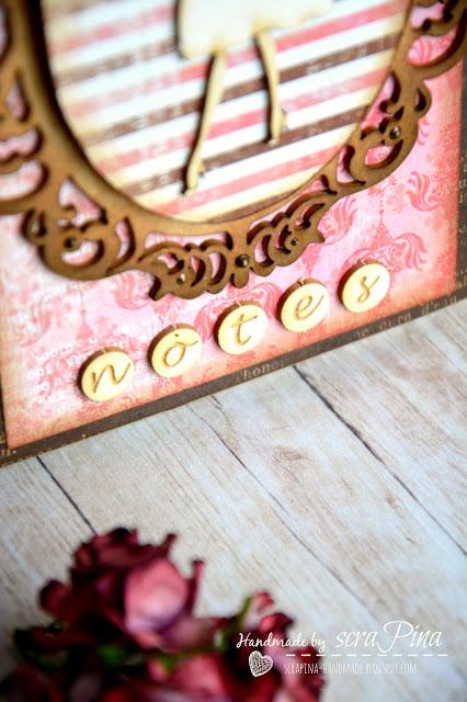 Elegancki kobiecy notes ręcznie robiony różowy brązowy notatnik vintage scrapina handmade scrapbooking papiery uhk gallery tekturki i kropka