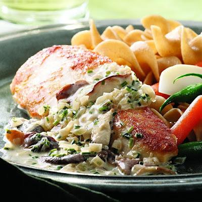 Petti di pollo con funghi salsa di crema