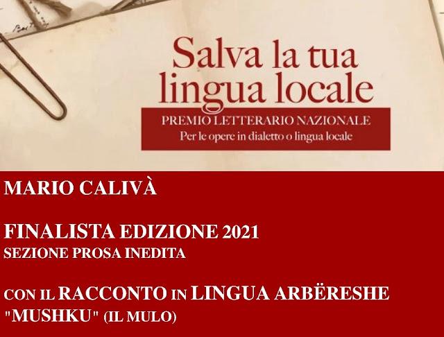 Il Arbëresh Mario Caliva tra i finalisti del Premio Letterario Nazionale in Italia