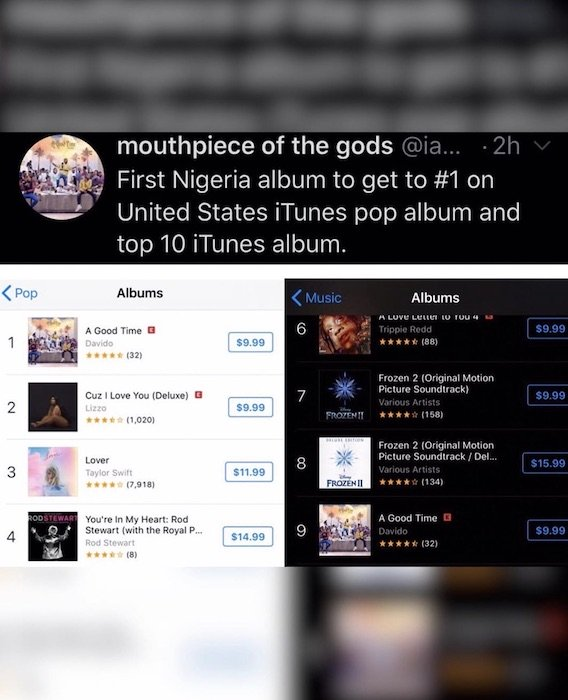 "Davido's Album ""A Good Time"" Becomes 1st Nigerian Album To Reach No.1 On US Pop iTunes Chart & Top 10 On General iTunes Chart"