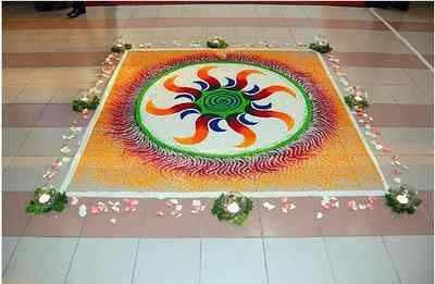 Easy Rangoli Designs Border Image for Happy New Year
