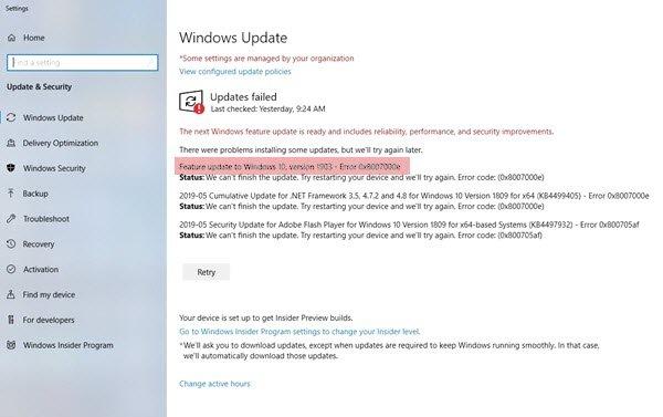 Windows Update error 0xC19001e2