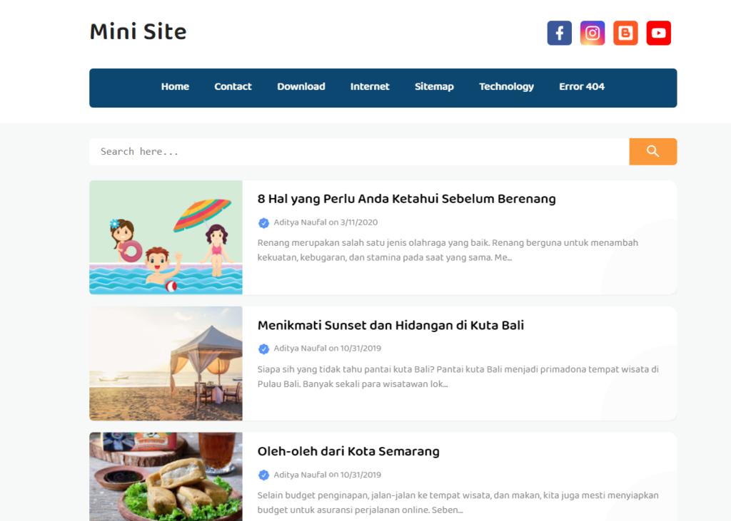 Mini Site Pro Responsive Blogger Template