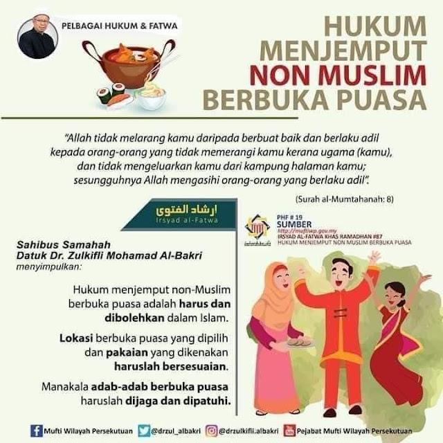 hukum menjemput bukan Islam berbuka puasa bersama