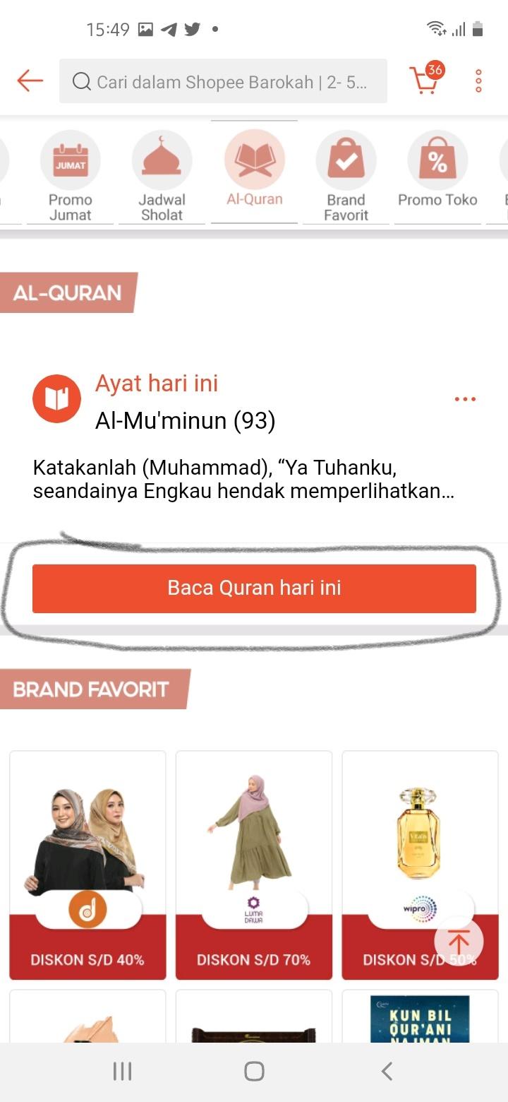 Halaman Utama Fitur Al-Qur'an di Shopee Barokah