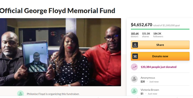GoFundMe Account for the memorial fund of George Floyd has now raised over $4.6 million in just 3 days