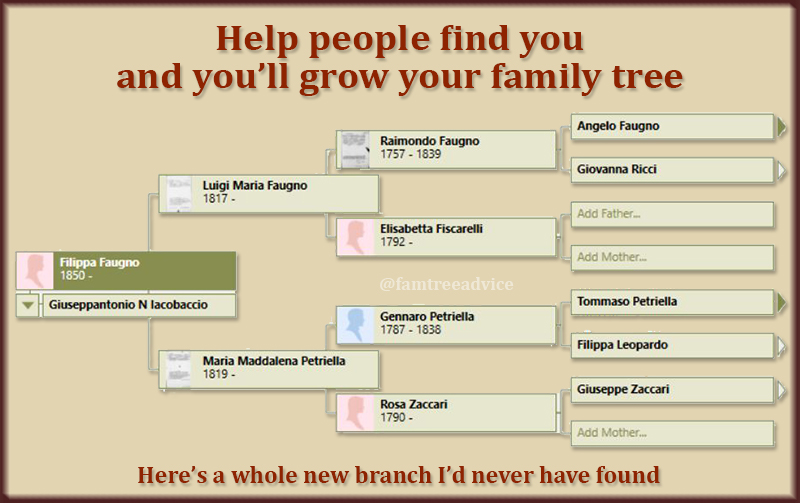 Working on the family tree of a possible cousin can net you a lot more relatives.