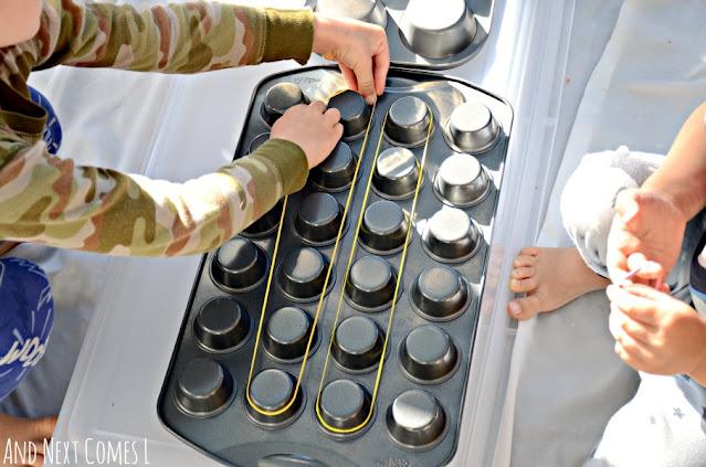 DIY geoboard fine motor activity using muffin tins
