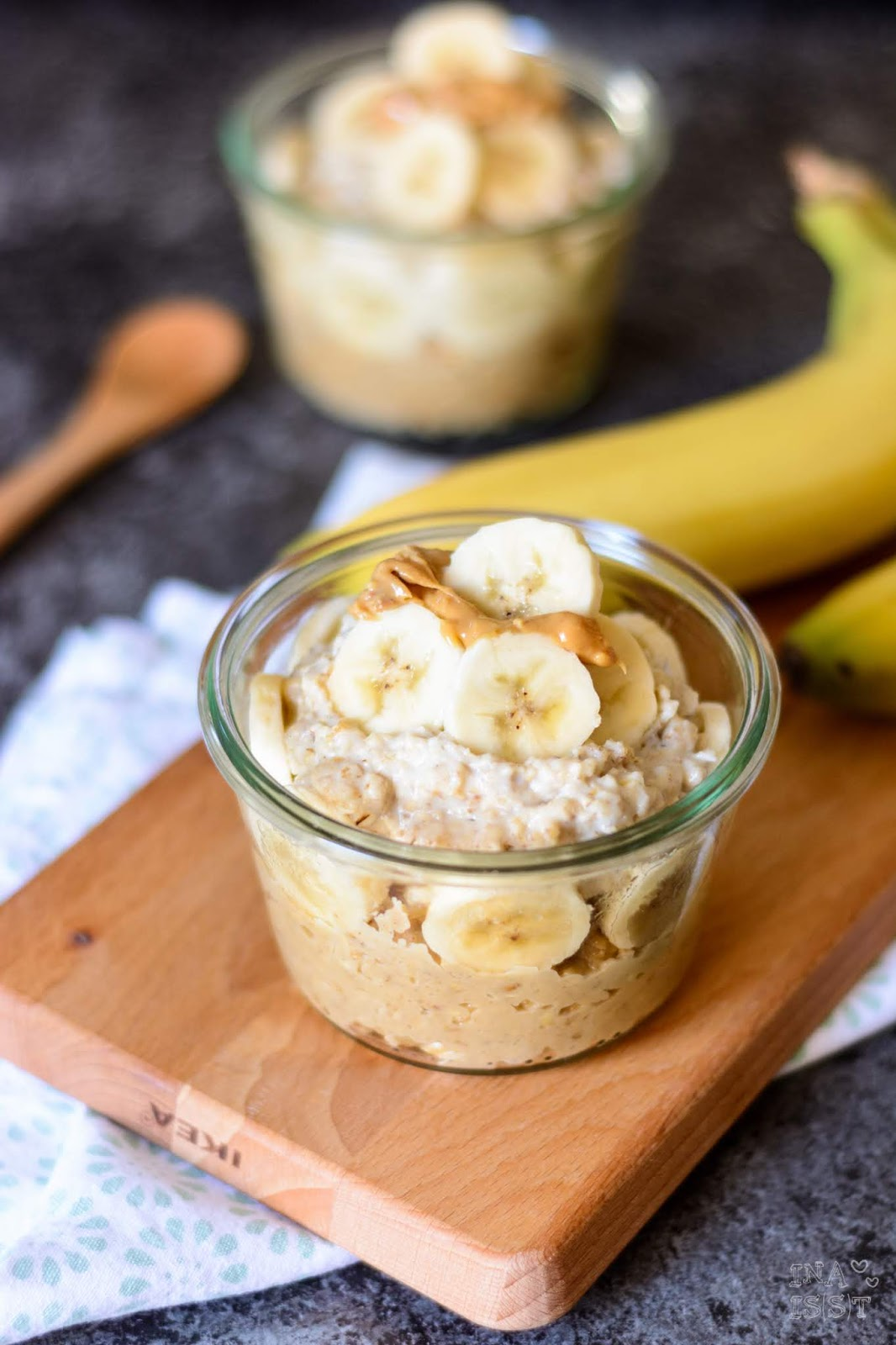 Essen im Büro, Rezept Peanut Butter Banana Porridge To Go