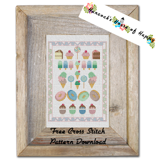 free candy store sampler cross stitch pattern featuring cross stitch cupcakes.