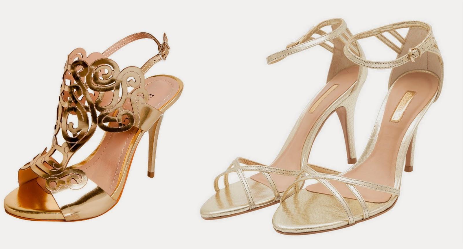 ea8aaa2d4 Sandália FiveBlu Diva Glass dourada,R$ 109,90 (aqui)- Sandália metalizada  textura dourada R$ 119,00 (aqui)