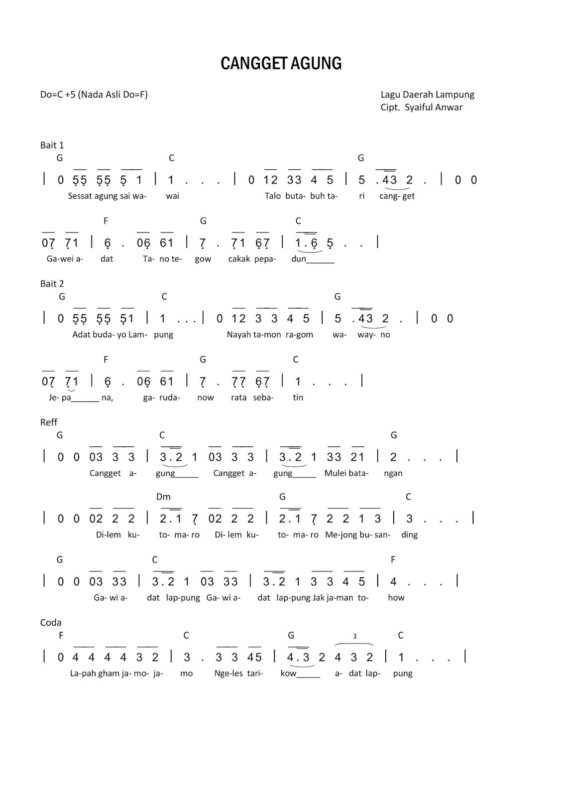 Not Lagu Cangget Agung