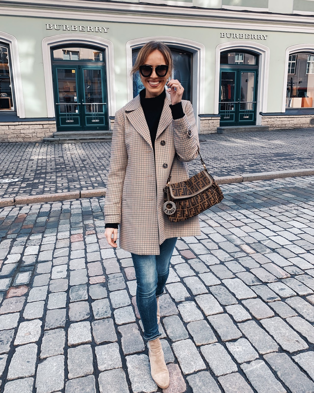 checked coat black sweater fendi bag suede chelsea boots spring outfit