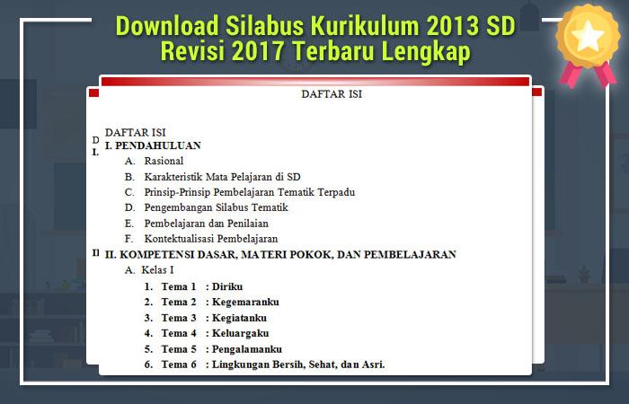 Download Silabus Kurikulum 2013 Sd Revisi 2017 Terbaru Lengkap Rpp K13