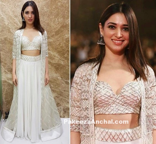 Tamanna Bhatia in Dazzling White outfit by Ritika Mirchandani